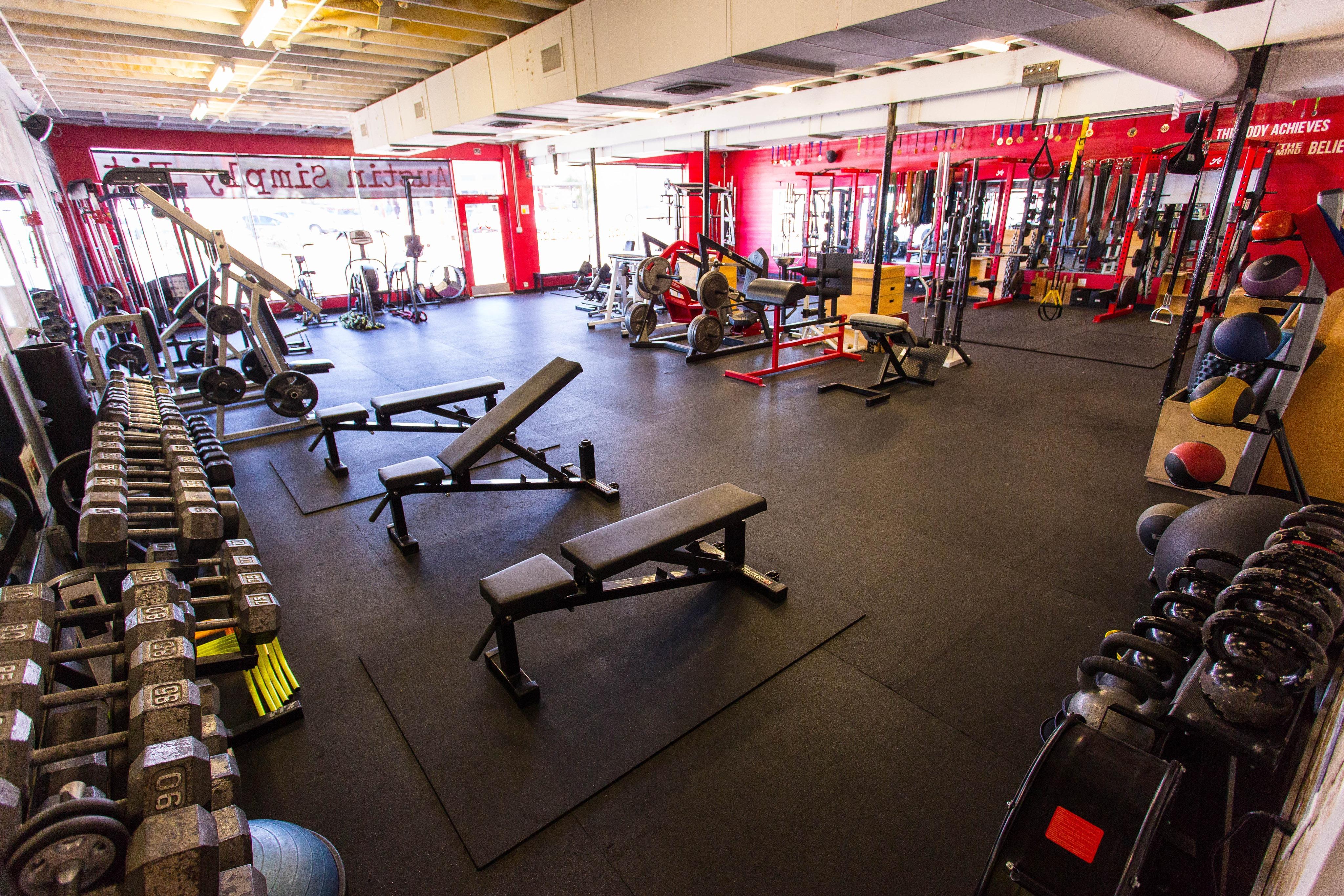 Strength training equipment at Austin Simply Fit personal training studio on Burnet Rd